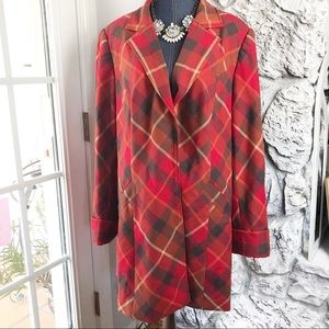 Lane Bryant red plaid coat 26